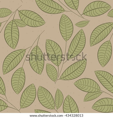Seamless pattern with leaves on ivory background