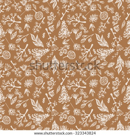 Seamless pattern with leaves, trees, flowers
