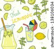 Seamless pattern with lemonade and it's ingredients. Lemon, mint, jug, ice and glass. Hand drawn vector illustration. - stock vector