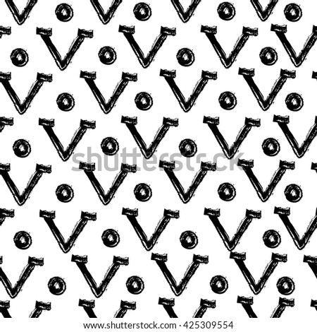 Seamless pattern with letters. Black-and-white letter pattern. Black letters and dots. Graphic monochrome background. - stock vector