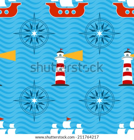 Seamless pattern with lighthouse, sailboat and compass rose on blue wavy background