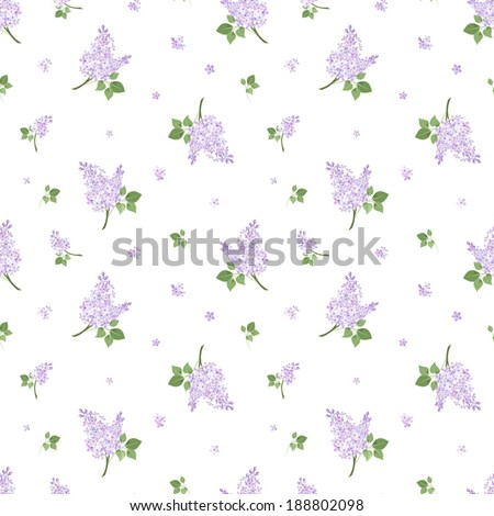 Seamless pattern with lilac flowers. Vector illustration. - stock vector