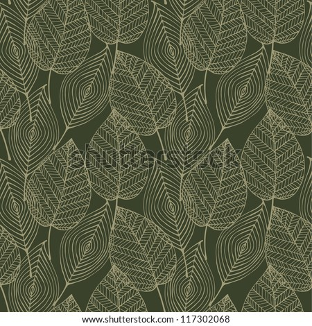 Seamless pattern with linear decorative lace leaves. Texture for design and decoration textile, web page backgrounds, bags, wrapping paper, covers - stock vector
