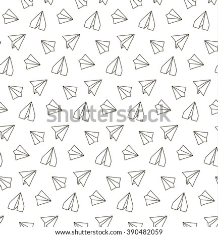 seamless pattern with linear paper planes hand drawn background adult coloring book suitable - Coloring Book Paper Stock