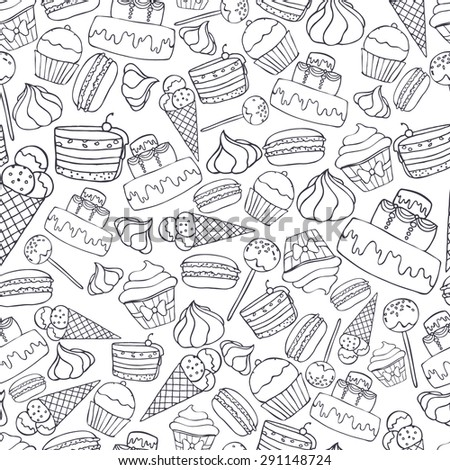 Seamless pattern with linerl sweets and pastry. Cupcake, macaroon, cake, ice cream. Vector illustration eps8
