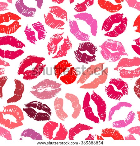 Seamless pattern with lipstick kisses. Imprints of colorful lipstick of red and pink shades isolated on a white background. Can be used for fabric print, wrapping paper or romantic greeting card - stock vector