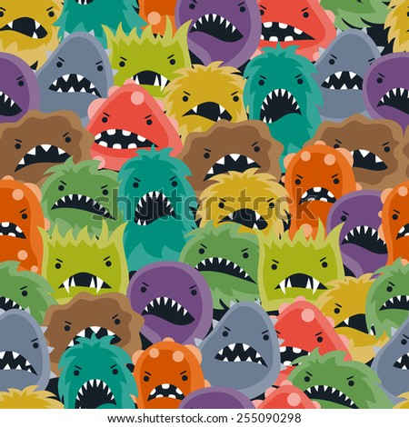 Seamless pattern with little angry viruses, microbes and monsters. - stock vector