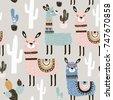seamless pattern with llama ...
