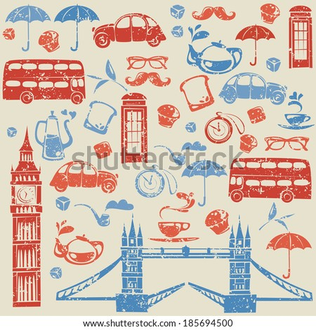 Seamless pattern with London and British elements.  - stock vector