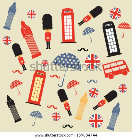 Seamless pattern with London symbols and landmarks - stock vector