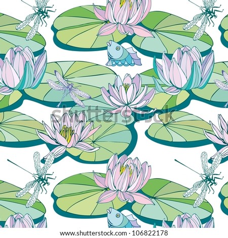 seamless pattern with lotus - stock vector
