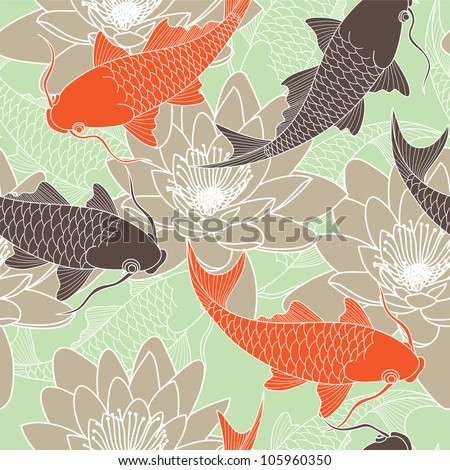 seamless pattern with lotus and carps - stock vector