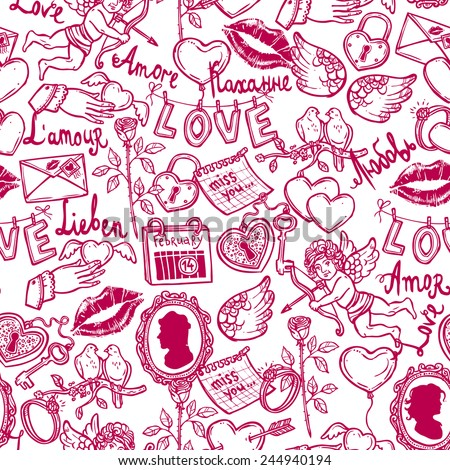 seamless pattern with love elements in sketch style for Valentin's day, key, Cupid, heart with arrow, rose, doves, wedding ring