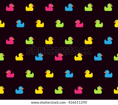 Seamless pattern with many different colored pixel art bath ducks on dark background - stock vector
