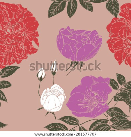 Seamless pattern with many flowers