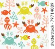 seamless pattern with marine life - stock vector