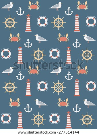 seamless pattern with marine motive - stock vector