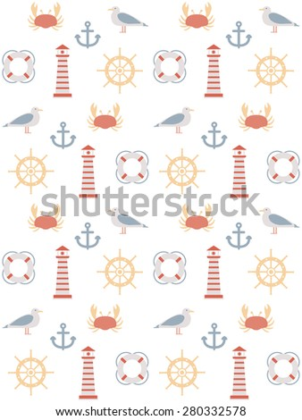 seamless pattern with marine motive. on white background - stock vector