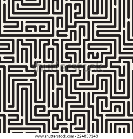 Seamless pattern with maze. Monochrome abstract background. Vector geometric illustration - stock vector