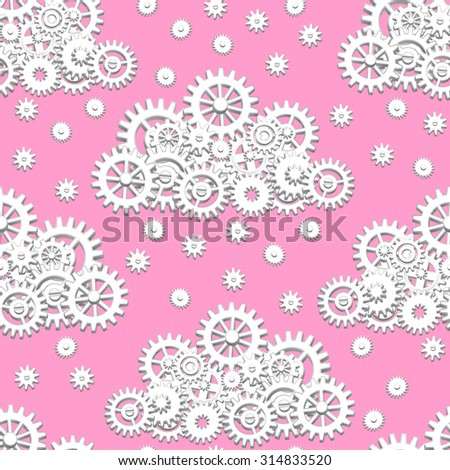 Seamless pattern with mechanical clouds made from gears with snowflakes or raindrops - stock vector