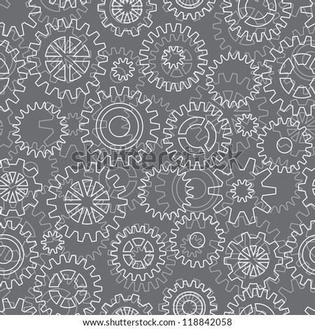 Seamless pattern with mechanical gears and cogwheels. - stock vector