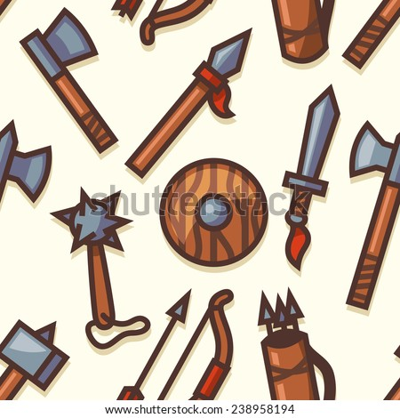 Seamless pattern with medieval weapons icons. Vector illustration.