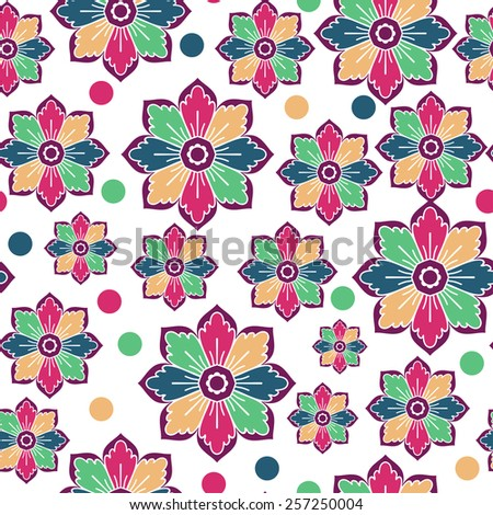 Seamless Pattern With Milticolor Flower