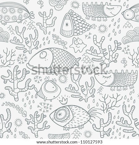 Seamless pattern with monochrome fish