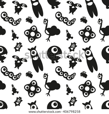 Seamless Pattern with Monsters 2. Can be used on clothes (T-shirts, pajamas, children's wear, etc), bags, wrappings, greeting cards, pillows and other things. - stock vector