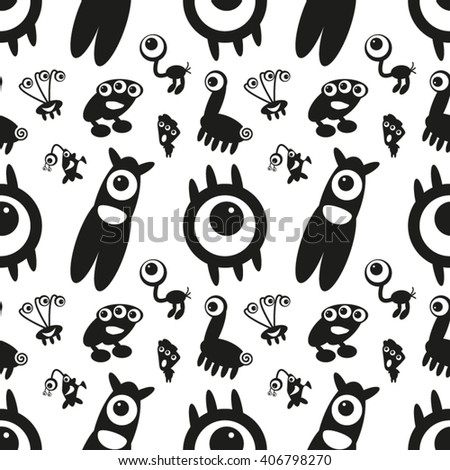Seamless Pattern with Monsters 18. Can be used on clothes (T-shirts, pajamas, children's wear, etc), bags, wrappings, greeting cards, pillows and other things. - stock vector