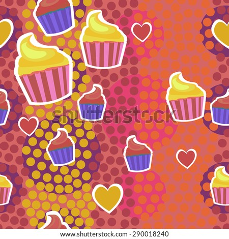 Seamless pattern with muffins. Vector illustration.  - stock vector