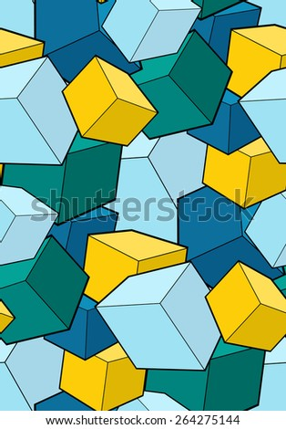 Seamless pattern with multi-colored cubes - stock vector