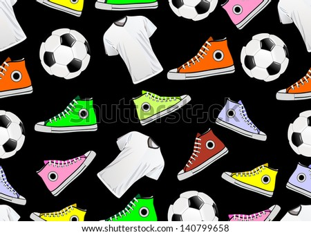 Seamless Pattern with multicolor sneakers and ball - stock vector