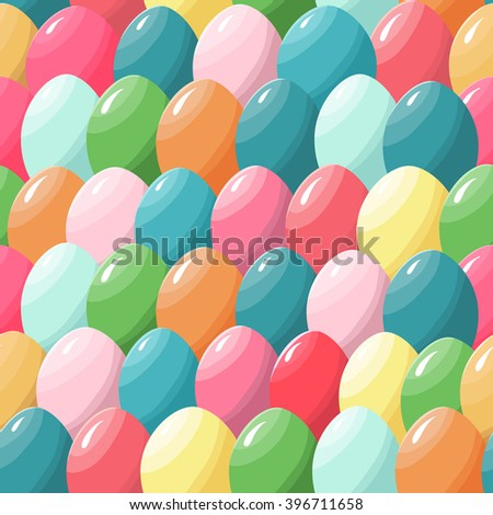 Seamless pattern with multicolored colorful easter eggs, vector illustration - stock vector