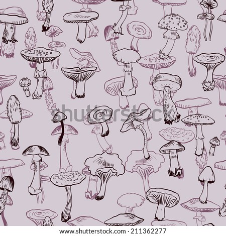 Seamless pattern with mushrooms, hand drawn vector illustration