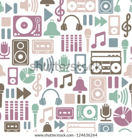 seamless pattern with music icons - stock vector