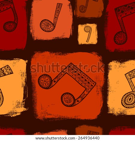 Seamless pattern with music notes and hand-drawn artistic squares background. Vector illustration.