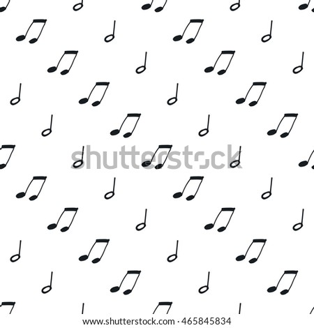 Seamless pattern with music notes. Black and white background.