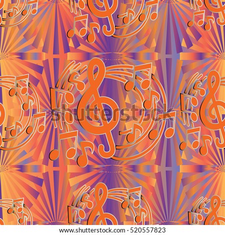 Seamless Pattern With Music Notes Background Vintage Abstract Elegant Endless Texture