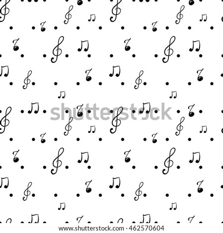 Seamless pattern with music notes.  Vector illustration.