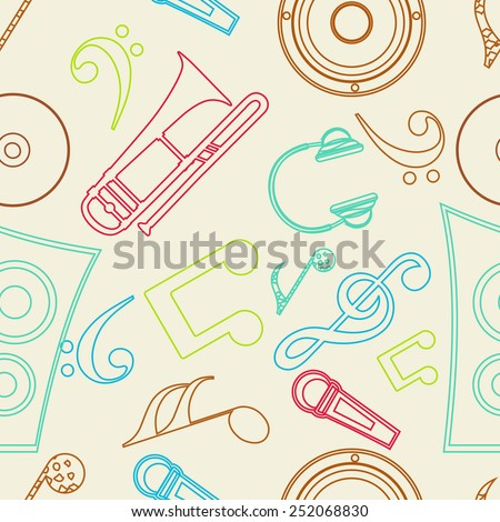Seamless pattern with musical instrument and musical notes. - stock vector