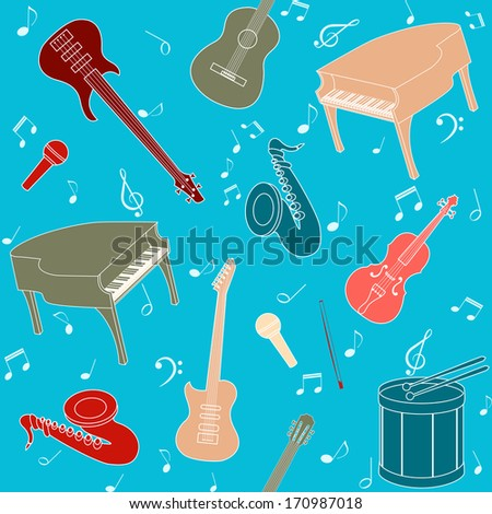 Seamless pattern with musical instruments and note symbols - stock vector