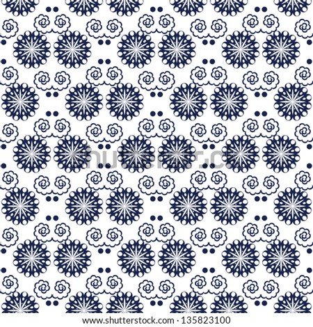 Seamless Pattern With Navy Blue And White Background Vector Illustration