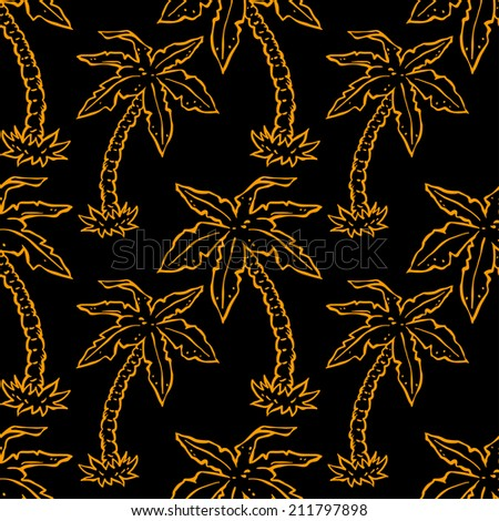 Seamless pattern with neon tropical coconut palm trees black and gold. Floral modern abstract background. Repeating print texture. Silk. Fabric design. Wallpaper - vector - stock vector