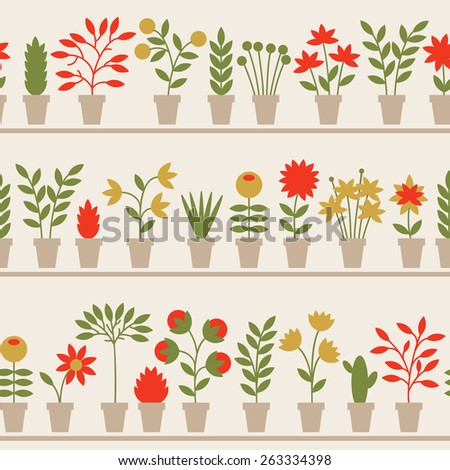 Seamless pattern with nice flowers in pots. Vector illustration. - stock vector