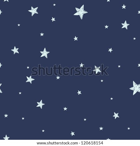 Seamless pattern with night sky and stars. Vector background. - stock vector