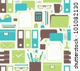 Seamless pattern with office related items. - stock photo