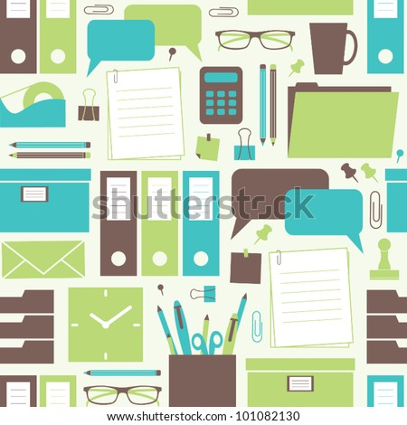 Seamless pattern with office related items. - stock vector