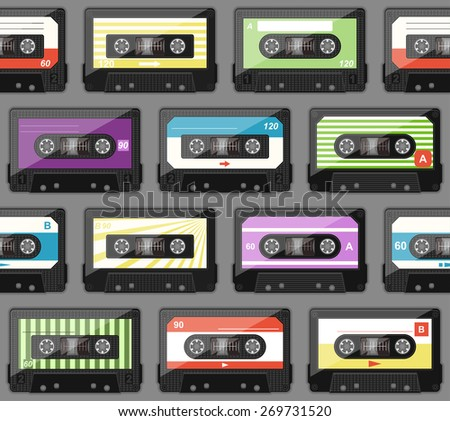 seamless pattern with old audio cassettes - stock vector