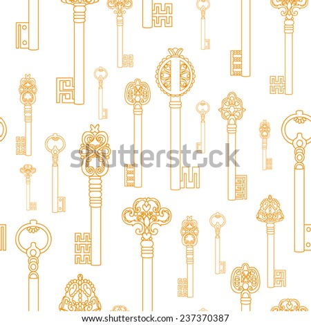 Seamless pattern with old keys, vector illustration